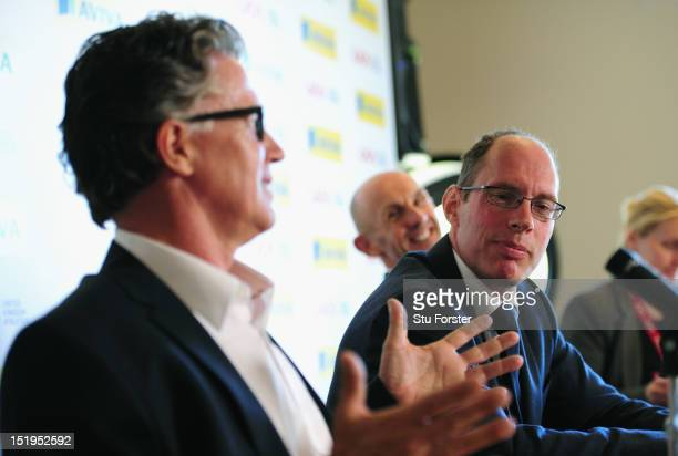 Outgoing UKA Athletics head coach Charles Van Commenee Chief Executive Niels de Vos and new performance director Neil Black face the press at the UK...