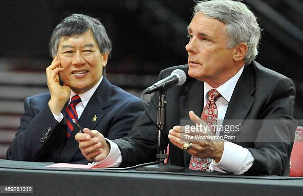 Outgoing University of Maryland basketball coach Gary Williams speaking at for the press conference announcing his retirement on May 06 2011 in...