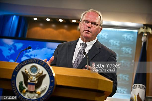 Outgoing US ambassador to Iraq Christopher Hill briefs the press on his his 16month tenure in Baghdad at the State Department in WashingtonDC on...