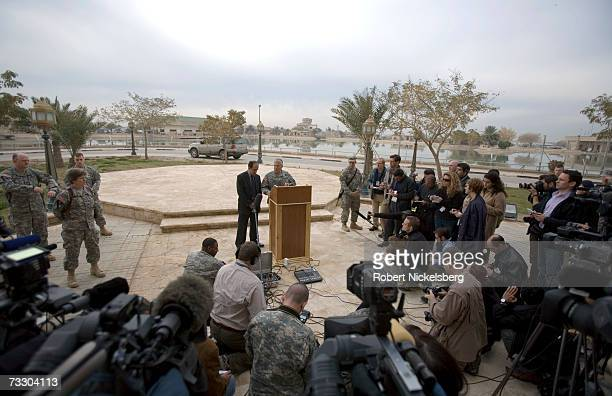 Outgoing US Army General George W Casey Jr Commander of MultiNational ForcesIraq takes questions from Iraqi and foreign journalists before he hands...