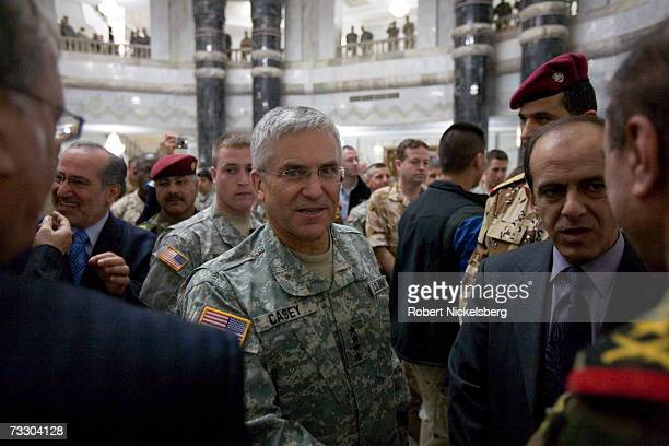 Outgoing US Army General George W Casey Jr Commander of MultiNational ForcesIraq says farewell to Iraqi and foreign and US military officials after...
