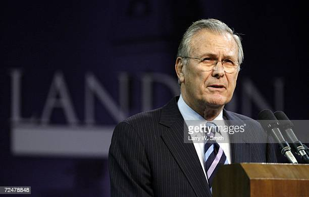 Outgoing US Defense Secretary Donald Rumsfeld delivers the 146th Landon Lecture inside Bramlage Coliseum at Kansas State University on November 09...