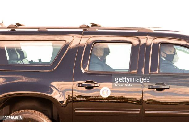 Outgoing U.S. President Donald Trump exits the airport after leaving Air Force One at the Palm Beach International Airport on the way to Mar-a-Lago...