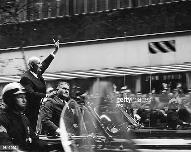 Outgoing US President Dwight D Eisenhower waves to crowds on Rockefeller Plaza New York during the US presidential election October 1960