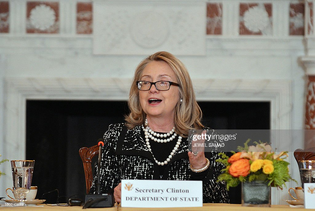 Outgoing US Secretary of State Hillary Clinton speaks as she hosts the announcement of the Open Book Project at the State Department in Washington, DC, on January 28, 2013. The Open Book Project is an initiative of the US Department of State, the Arab League Educational, Cultural and Scientific Organization and leading education innovators to expand access to free, high-quality open educational resources in Arabic, with a focus on science and technology and online learning. AFP PHOTO/Jewel Samad