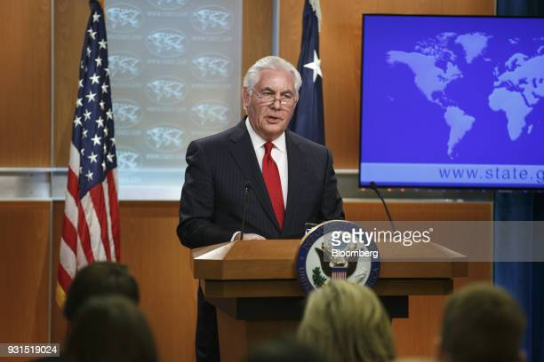 Outgoing US Secretary of State Rex Tillerson delivers remarks at the State Department in Washington DC US on Tuesday March 13 2018 President Donald...