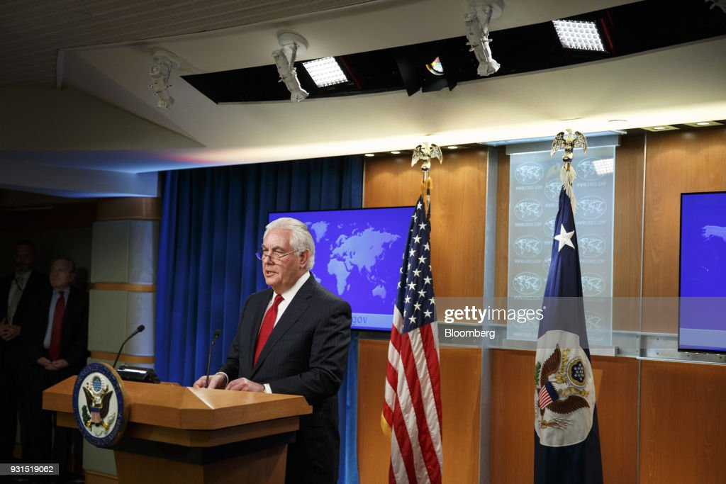 Outgoing U.S. Secretary of State Rex Tillerson delivers remarks at the State Department in Washington, D.C., U.S. on Tuesday, March 13, 2018. President Donald Trump ousted Tillerson on Tuesday, ending a rocky tenure in an abrupt move that stunned the former Exxon Mobil Corp. CEO and set in motion a shakeup of the administration's foreign policy team. Photographer: Joshua Roberts/Bloomberg via Getty Images