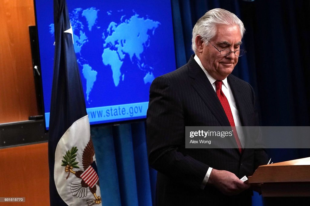 Outgoing U.S. Secretary of State Rex Tillerson leaves after he made a statement on his departure from the State Department March 13, 2018 at the State Department in Washington, DC. President Donald Trump has nominated CIA Director Mike Pompeo to replace Tillerson to be the next Secretary of State.
