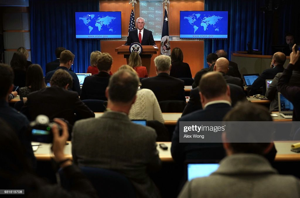 Outgoing U.S. Secretary of State Rex Tillerson makes a statement on his departure from the State Department March 13, 2018 at the State Department in Washington, DC. President Donald Trump has nominated CIA Director Mike Pompeo to replace Tillerson to be the next Secretary of State.