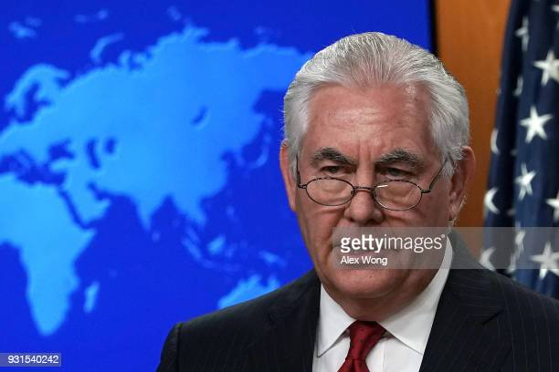 Outgoing US Secretary of State Rex Tillerson makes a statement on his departure from the State Department March 13 2018 at the State Department in...