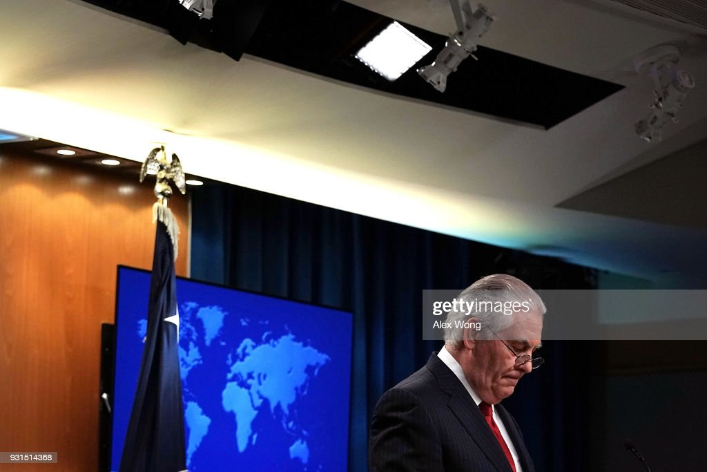 Outgoing U.S. Secretary of State Rex Tillerson pauses as he makes a statement on his departure from the State Department March 13, 2018 at the State Department in Washington, DC. President Donald Trump has nominated CIA Director Mike Pompeo to replace Tillerson to be the next Secretary of State.