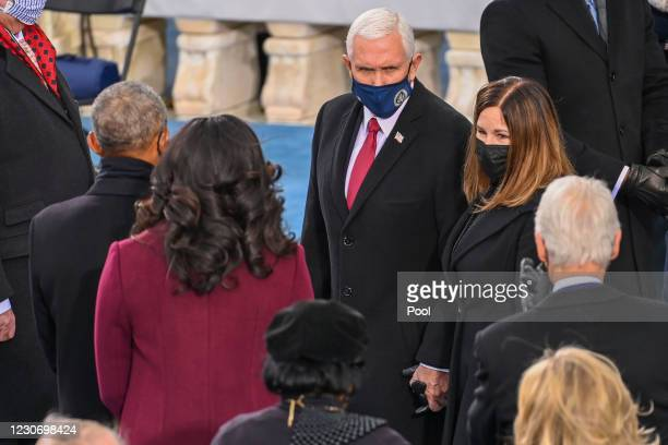 Outgoing US Vice President Mike Pence and US Second Lady Karen Pence meet Former US President Barack Obama and Former US First Lady Michelle Obama...