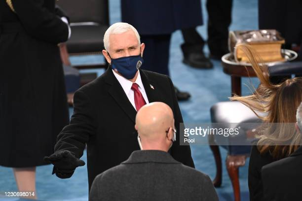 Outgoing US Vice President Mike Pence attends the 59th Presidential Inauguration at the U.S. Capitol on January 20, 2021 in Washington, DC. During...