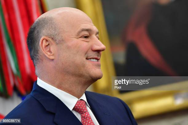 Outgoing White House chief economic adviser Gary Cohn attends a meeting with President Donald Trump and the Crown Prince Mohammed bin Salman of the...