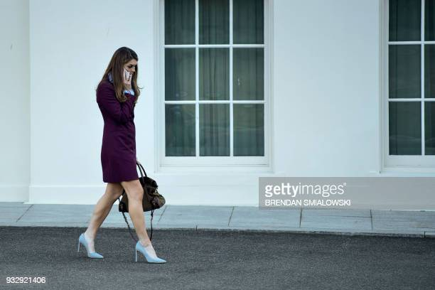 Outgoing White House Comunications Director Hope Hicks leaves the White House March 16 2018 in Washington DC / AFP PHOTO / Brendan Smialowski
