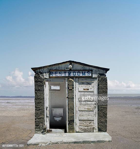 Outhouse on beach, close-up