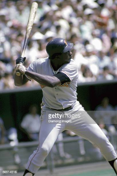 Outielder Gary Matthews of the San Francisco Giants at bat during a game in July 1973 against the Cincinnati Reds at Riverfront Stadium in Cincinnati...