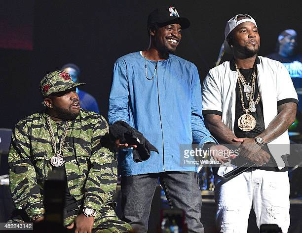 Outkast Big Boi Andre 3000 and Young Jeezy perform at Jeezy Presents TM101 10 Year anniversary concert at The Fox Theatre on July 25 2015 in Atlanta...