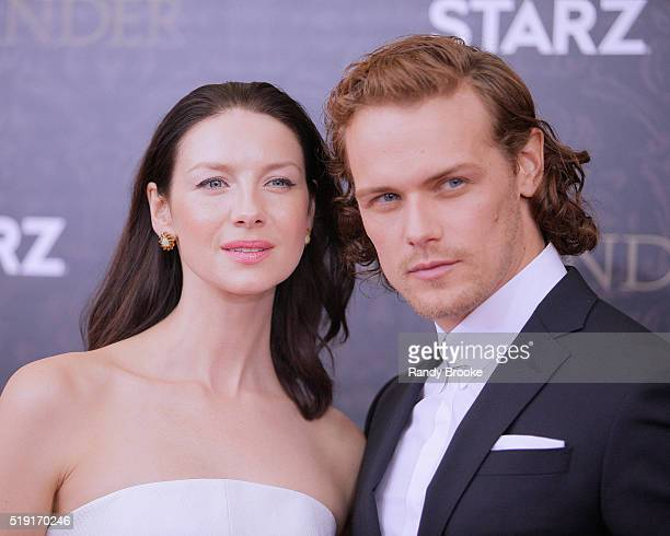 Outlander actors Caitriona Balfe and Sam Heughan attend the Season Two World Premiere at American Museum of Natural History on April 4, 2016 in New...