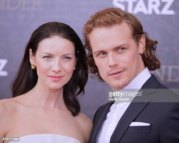 """Outlander actors Caitriona Balfe and Sam Heughan attend the Season Two World Premiere of """"Outlander"""" at the American Museum of Natural History on..."""