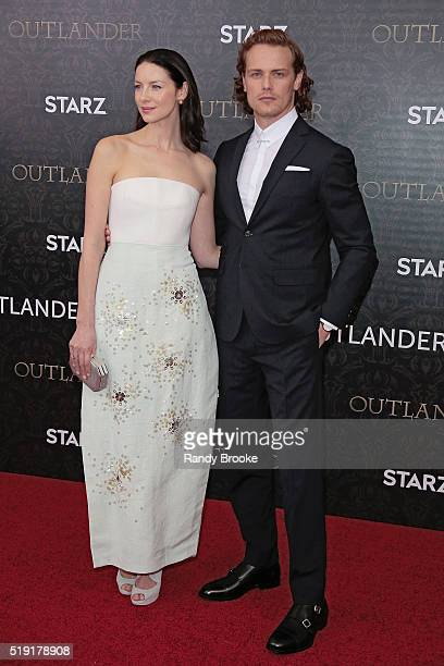 Outlander actors Caitriona Balfe and Sam Heughan attend the Season Two World Premiere of Outlander at the American Museum of Natural History on April...