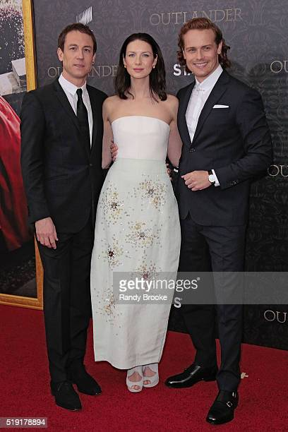 Outlander actors Tobias Menzies Caitriona Balfe and Sam Heughan attend the Season Two World Premiere of 'Outlander' at the American Museum of Natural...