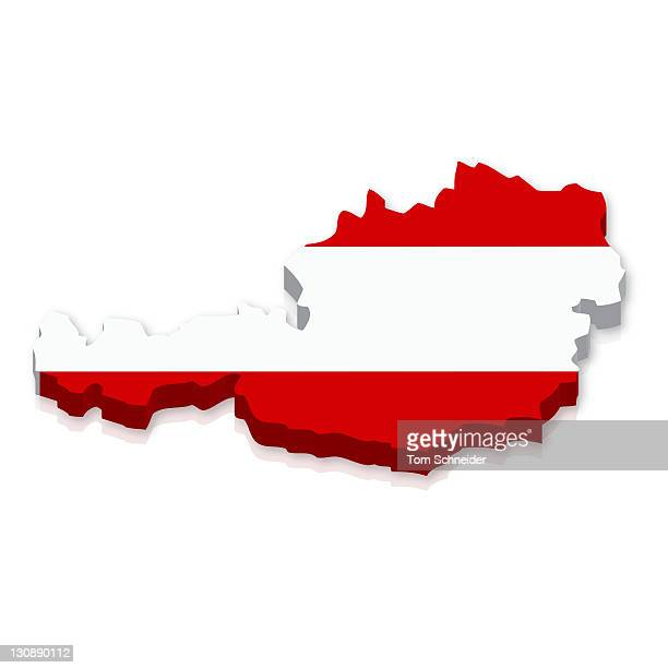 Outline and flag of Austria, 3D
