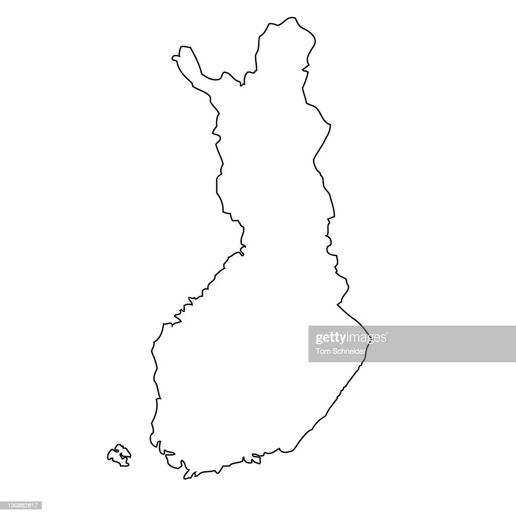 Outline Map Of Finland Stock Photo - Getty Images