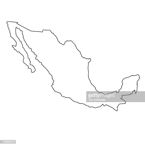 Outline, map of Mexico