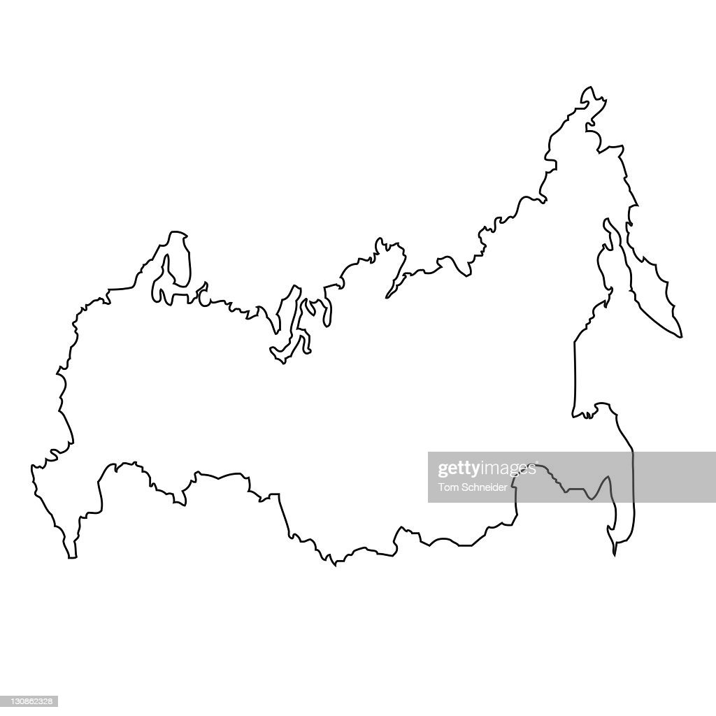 Outline Map Of Russia Stock Photo Getty Images