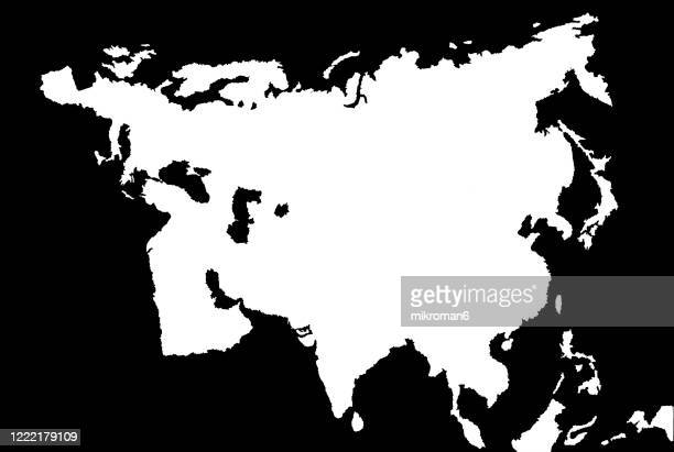 outline of the continent of europe and asia - eurasia stock pictures, royalty-free photos & images