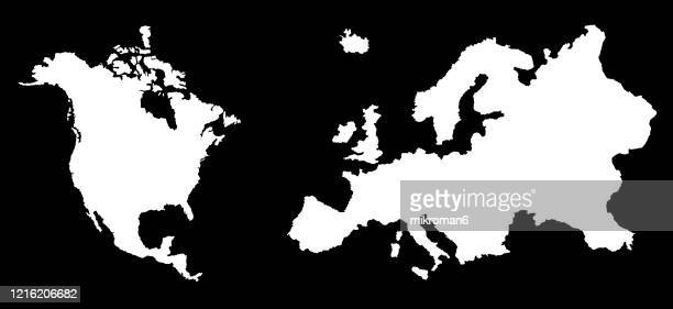 outline of the continent of europe nad north america - map stock pictures, royalty-free photos & images