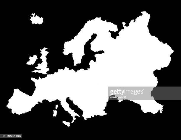 outline of the continent of europe - europe stock-fotos und bilder