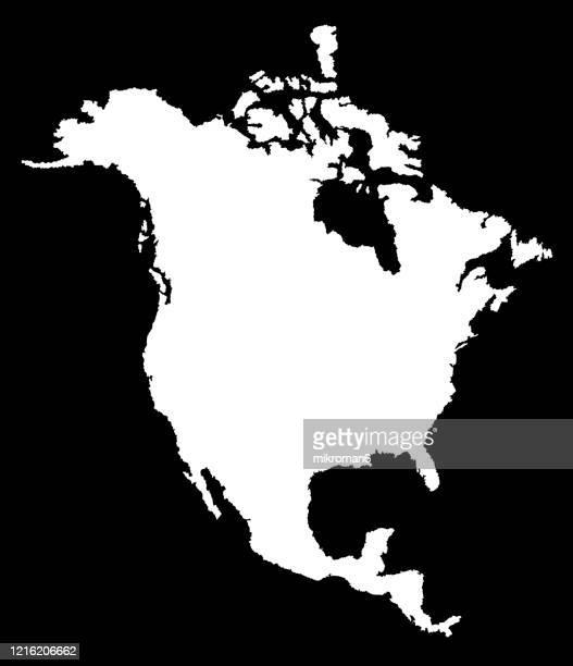 outline of the continent of north america - américa del norte fotografías e imágenes de stock