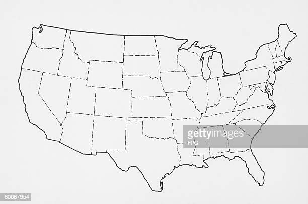 outline of usa - outline stock pictures, royalty-free photos & images