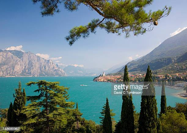 Outlook to village of Malcesine across turquoise waters of Lake Garda.