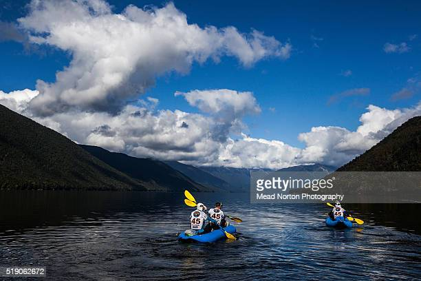Outnorth Adventure Team Christian Ericsson Christer Casselsjo Maarten Svensson Kristina Carling from Sweden heading out on lake Rotoroa for Stage 5...