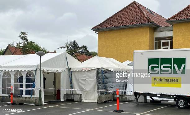 covid-19 outpatient testing in tent at nordsjællands hospital, denmark - hillerod stock pictures, royalty-free photos & images