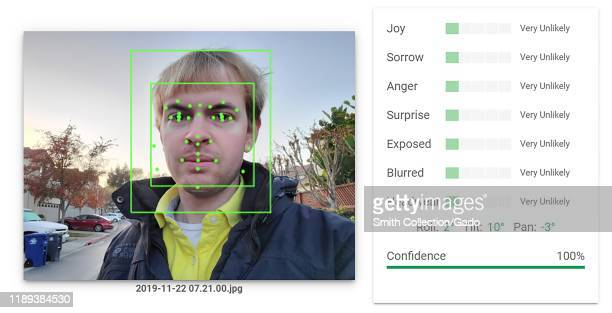 Output of an Artificial Intelligence system from Google Vision performing Facial Recognition and emotion analysis on a photograph of a man with...