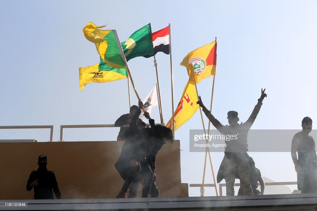 Outraged Iraqi protesters storm US embassy in Baghdad : Nieuwsfoto's