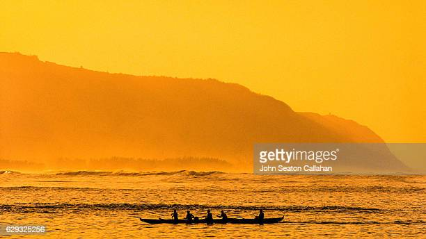 outrigger canoe - haleiwa stock photos and pictures