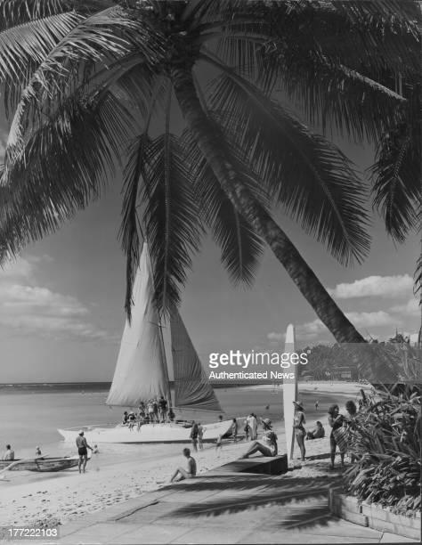 Outrigger Waikiki on the Beach a bar and hotel on Waikiki Beach Honolulu Hawaii circa 19301965