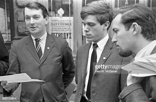 Outside 12 St Marks Place in the Greenwich Village neighborhood from left Dick Leitsch Craig Rodwell and John Timmins all members of the New York...