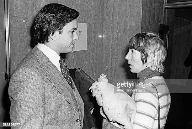 Outside a court room attorney James Merberg talks with Sid Vicious' mother Ann Beverly at her son's bail hearing on the Nancy Spungen murder charge...