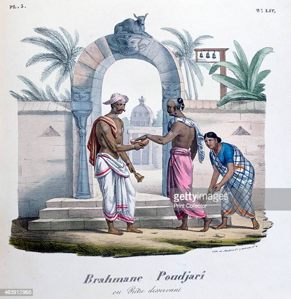 Outside a temple, India, 1828. A lithograph from L'Inde Français, 1828. From the collection of Jean Claude Carriere.