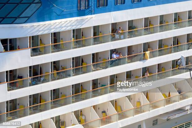 outside balcony rooms on a cruise ship - moored stock pictures, royalty-free photos & images