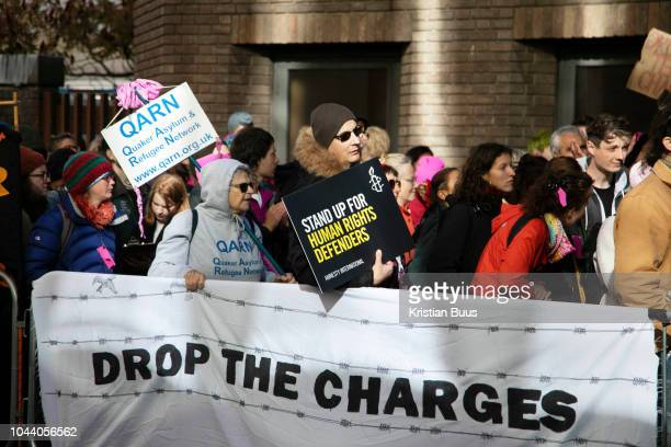 Outside Chelmsford crown court on the first day of the trial of the Stansted 15, on October 1st 2018 in Chelmsford, United Kingdom. The defendants...