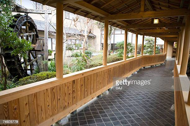 outside corridor in a japanese inn, japan - 宿屋 ストックフォトと画像