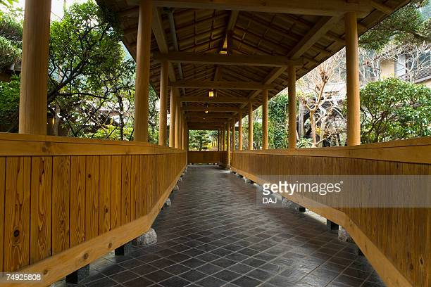 outside corridor of a japanese inn, japan - 宿屋 ストックフォトと画像