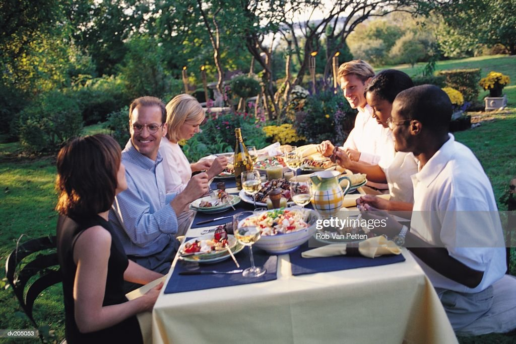 Outside dinner party : Stock Photo
